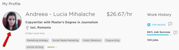 andreea's upwork freelance profile