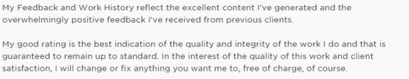 upwork freelancer feedback section