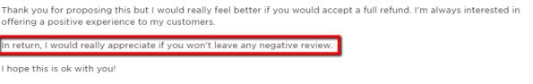 refund for positive freelancer feedback