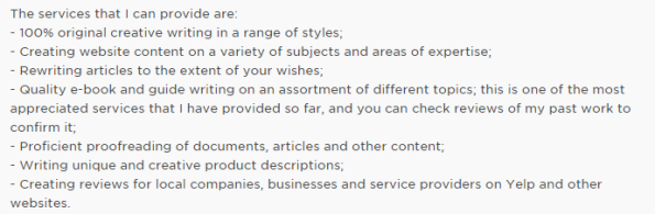how to list your services as a freelancer